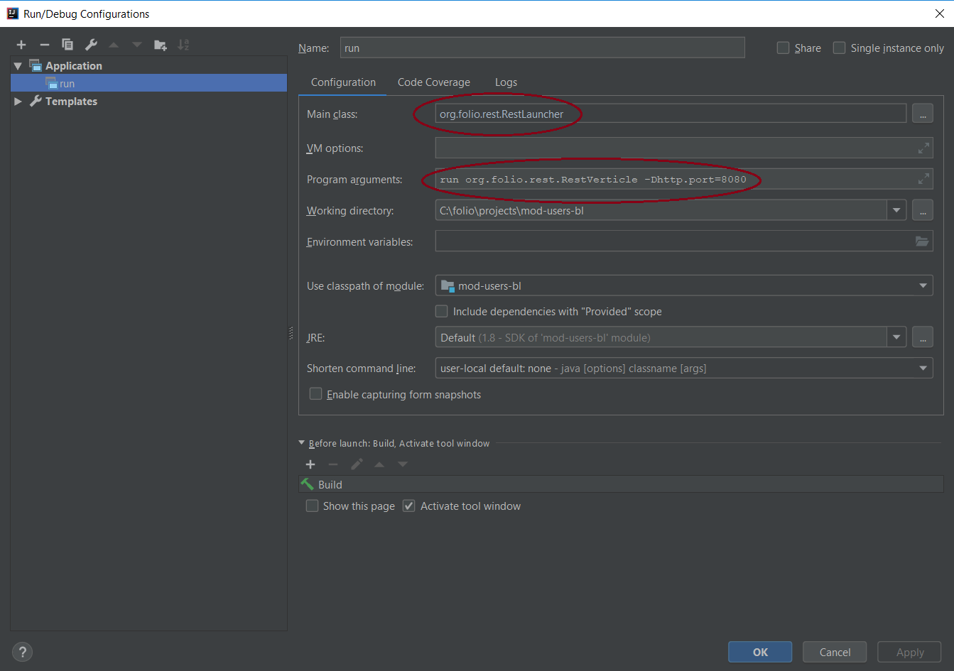 How to run folio backend modules with IntelliJ Idea and